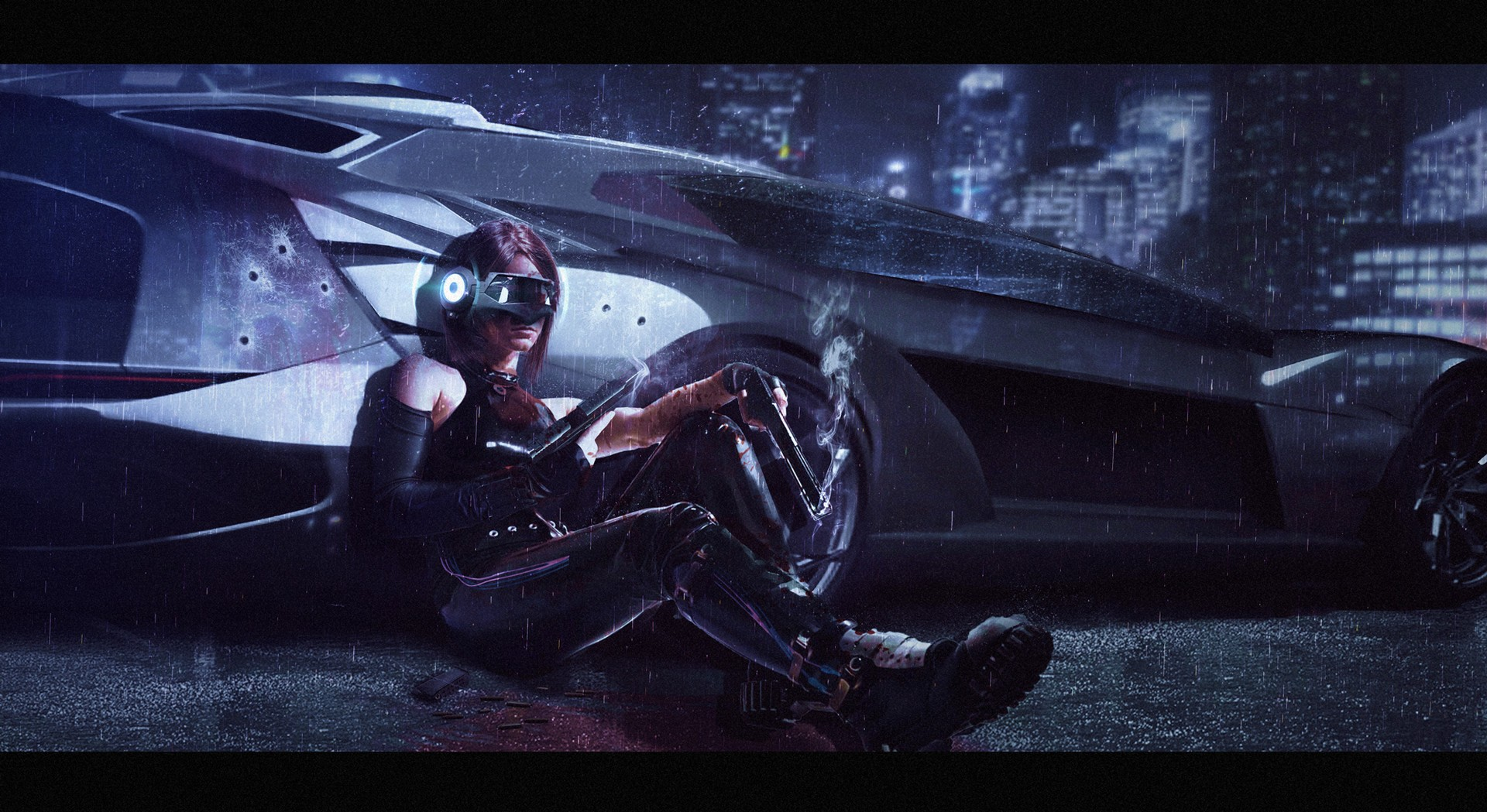 Super Car 5760x1080 Wallpaper Artwork Concept Art Women Gun Weapon Women With Guns