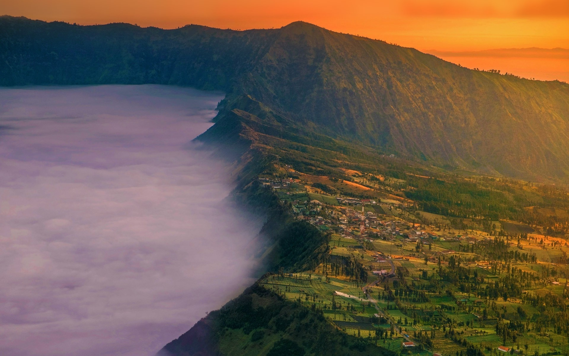 Sunset Wallpapers With Quotes Landscape Nature Village Mount Bromo Java Indonesia