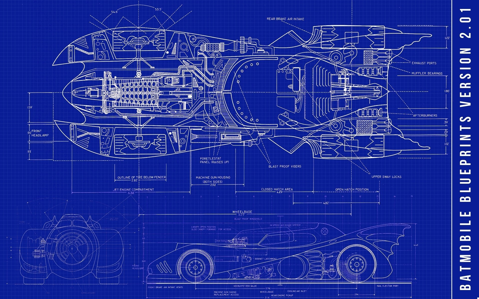Retro Car Home Wallpaper Vehicle Car Batman Batman Cars Sketches Blueprints