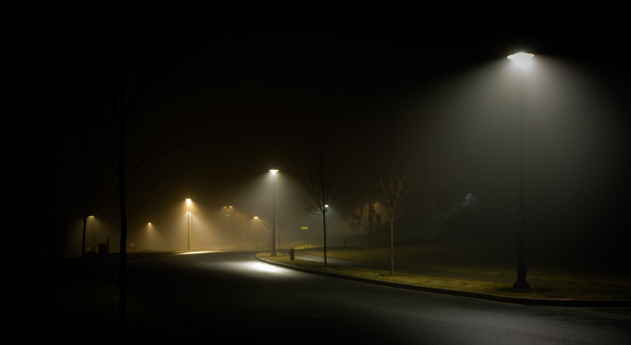Street Light At Night Painting Landscape Nature Street Night Street Light Mist