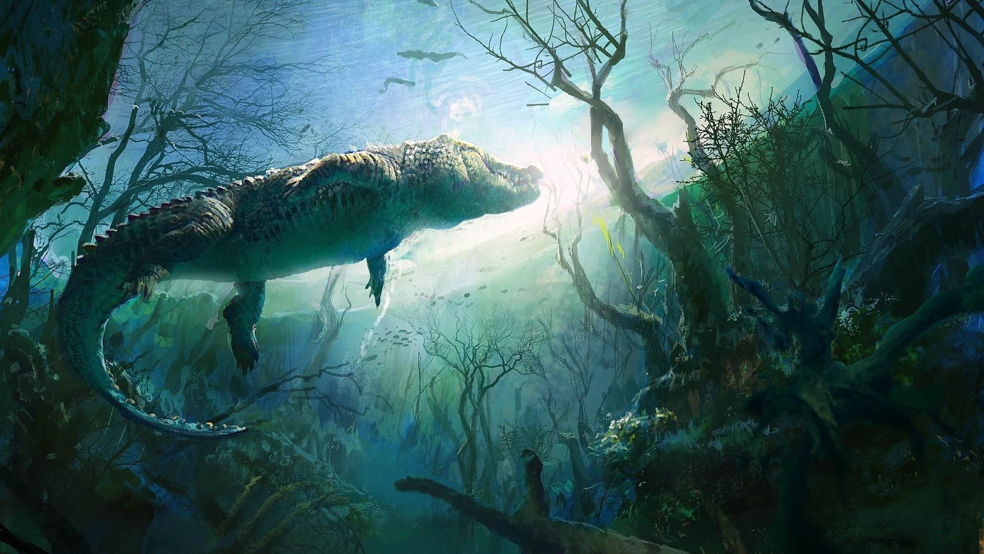 1280x1024 Fall Wallpaper Nature Animals Digital Art Underwater Crocodiles