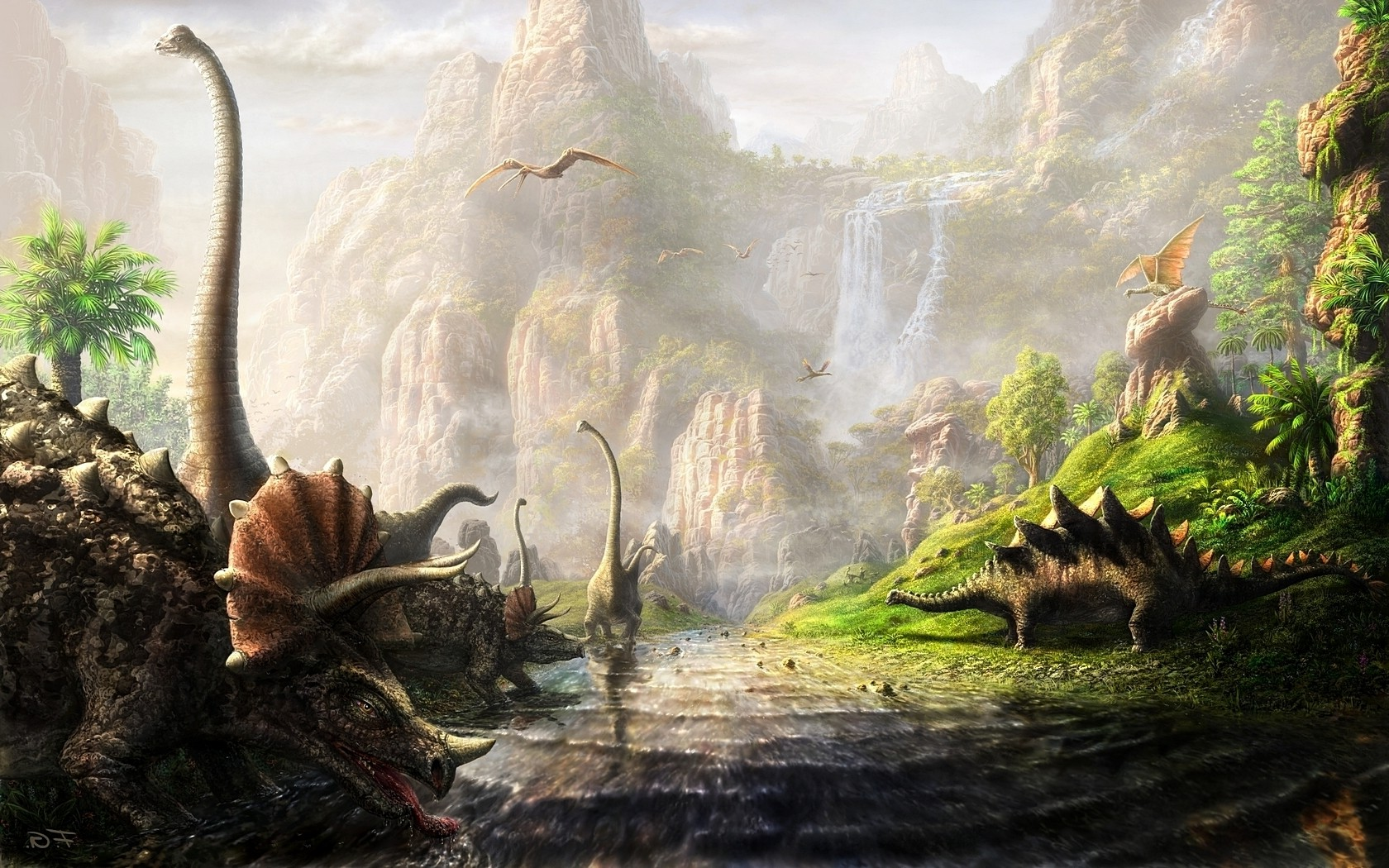 Chinese Calligraphy Wallpaper Hd Dinosaurs Fantasy Art Triceratops River Cliff