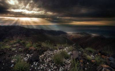 nature, Landscape, Sun Rays, Mountain, Shrubs, Dark, Clouds, Sky, Sunlight, Mongolia, Sunrise ...