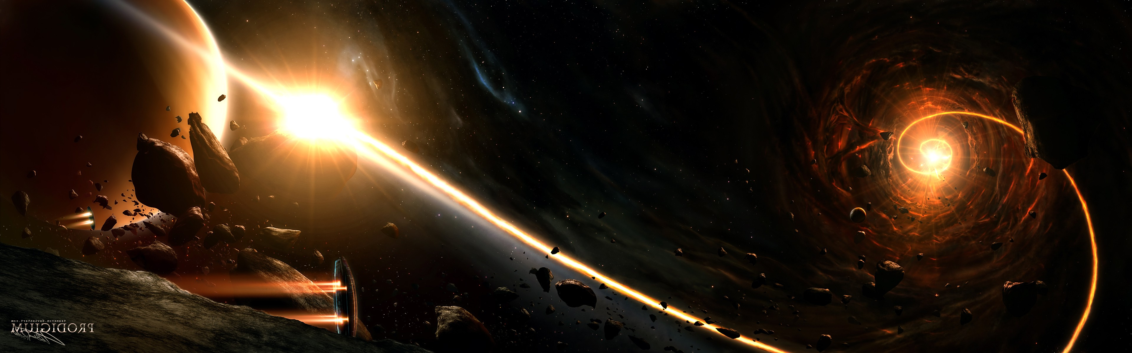 3d Asteroid Wallpaper Space Planet Asteroid Spaceship Stars Nebula