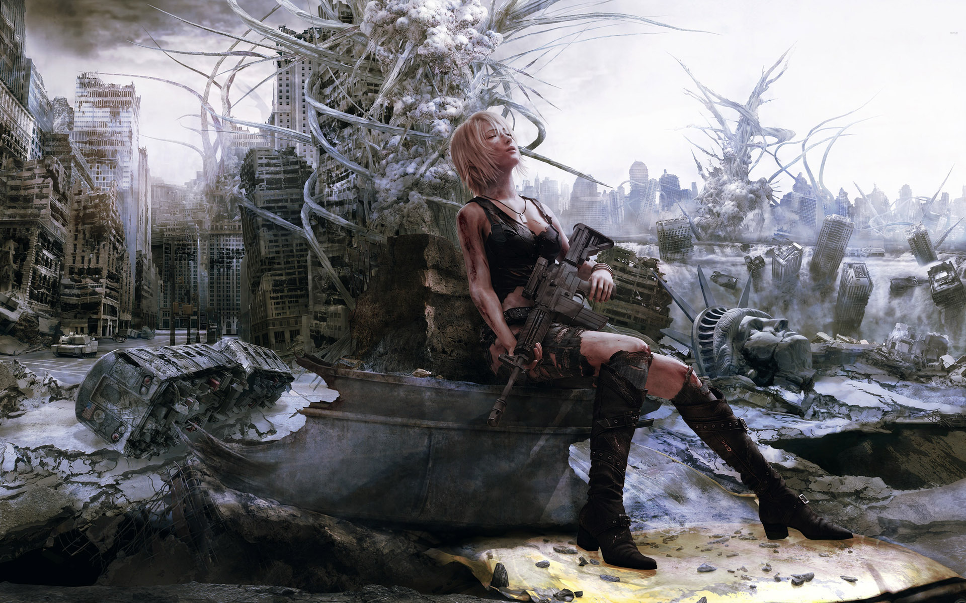 Uhd Wallpapers Girl Cgi Artwork Gun Video Games Women Apocalyptic The