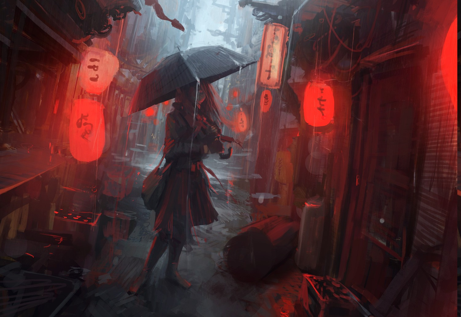 Wallpaper Of Girl Standing In Rain Andree Wallin Digital Art Concept Art Urban Wallpapers