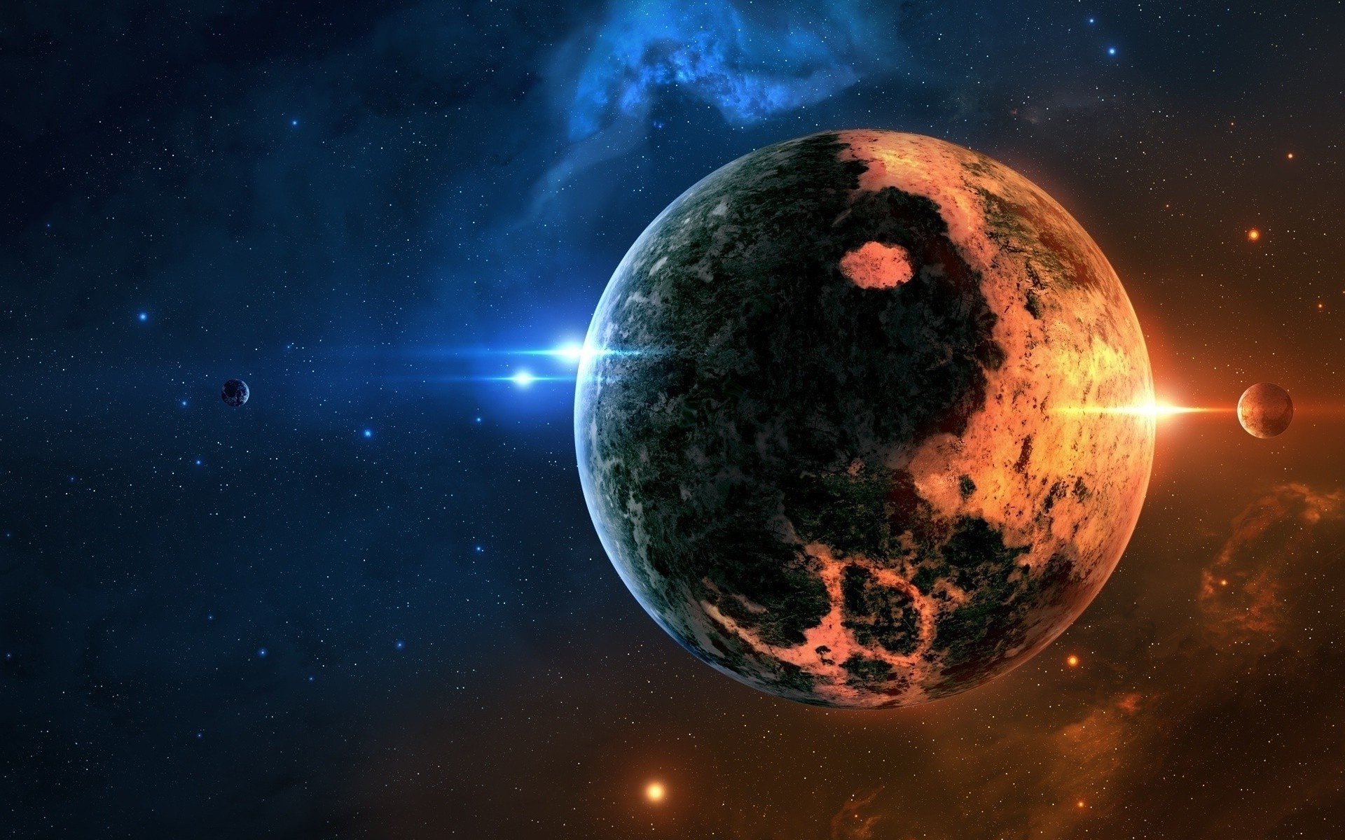 3d Wallpapers Hd Full Hd 1080p 1920x1080 Space Art Space Planet Glowing Yin And Yang Wallpapers