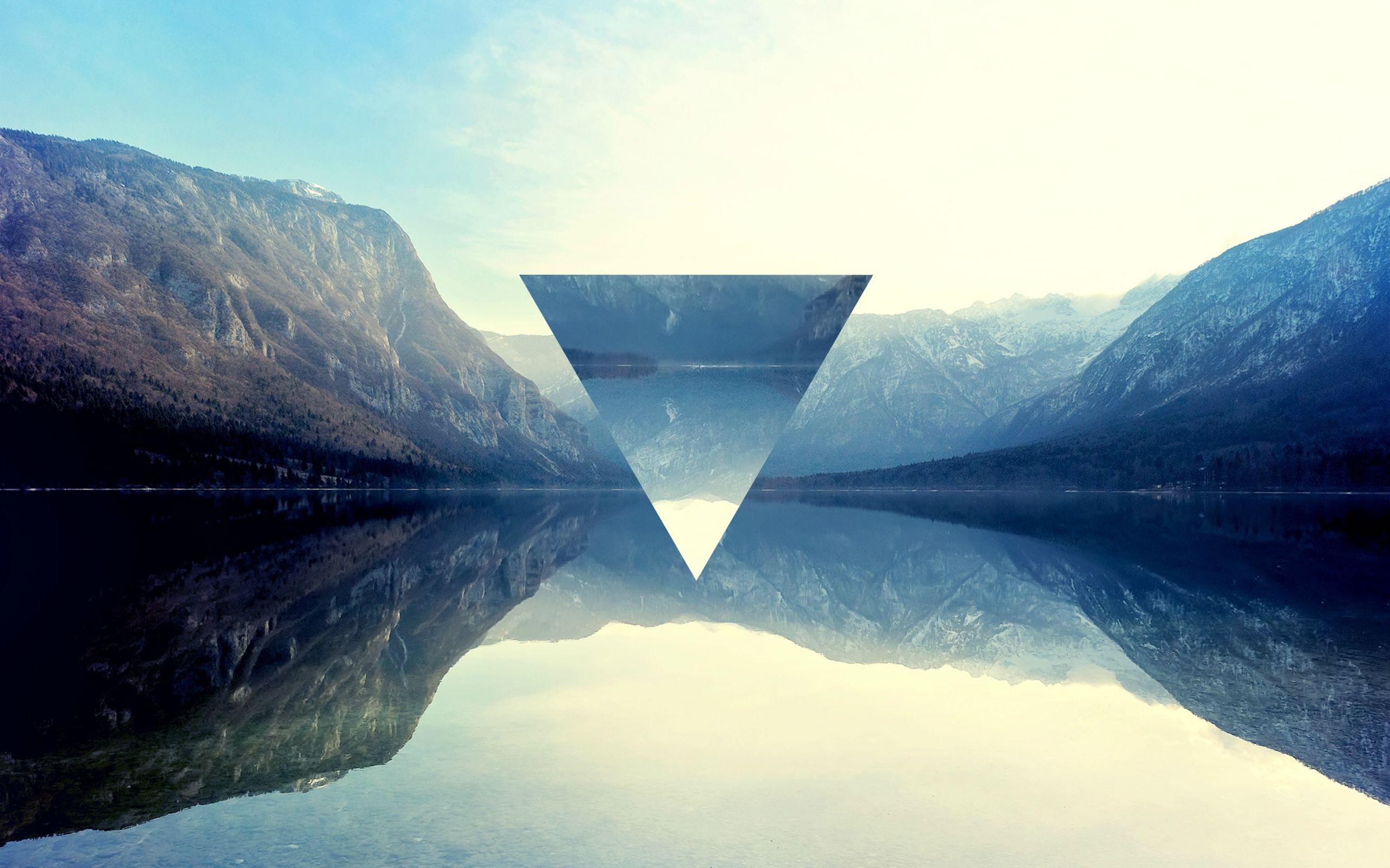 Uhd 3d Wallpaper Download Triangle Polyscape Mountain Lake Reflection Wallpapers