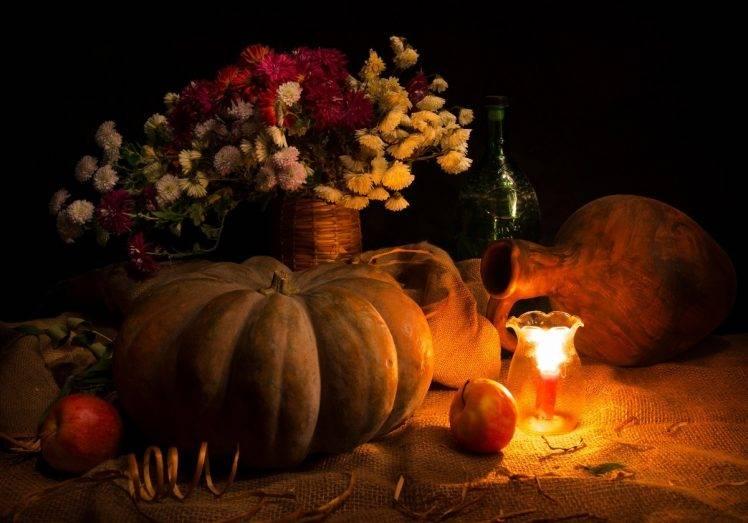 Free Fall Harvest Desktop Wallpaper Pumpkin Candles Flowers Apples Wallpapers Hd Desktop