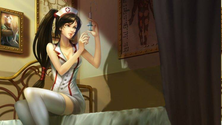 Retro Anime Girl Wallpaper Soft Shading Nurses Thigh Highs Bed League Of Legends