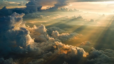nature, Sky, Clouds, Sun Rays, Aerial View Wallpapers HD / Desktop and Mobile Backgrounds