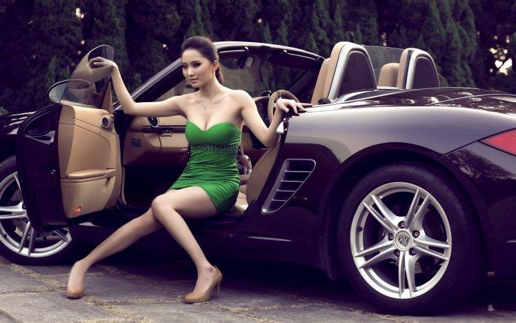 High Resolution Muscle Car Wallpapers Women Dress Green Black Car Wheels Heels Luxury