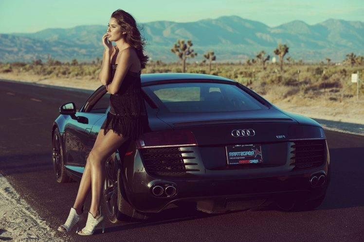 Audi Q7 Car Wallpaper Women Car Black Dress Audi Brunette Women With Cars
