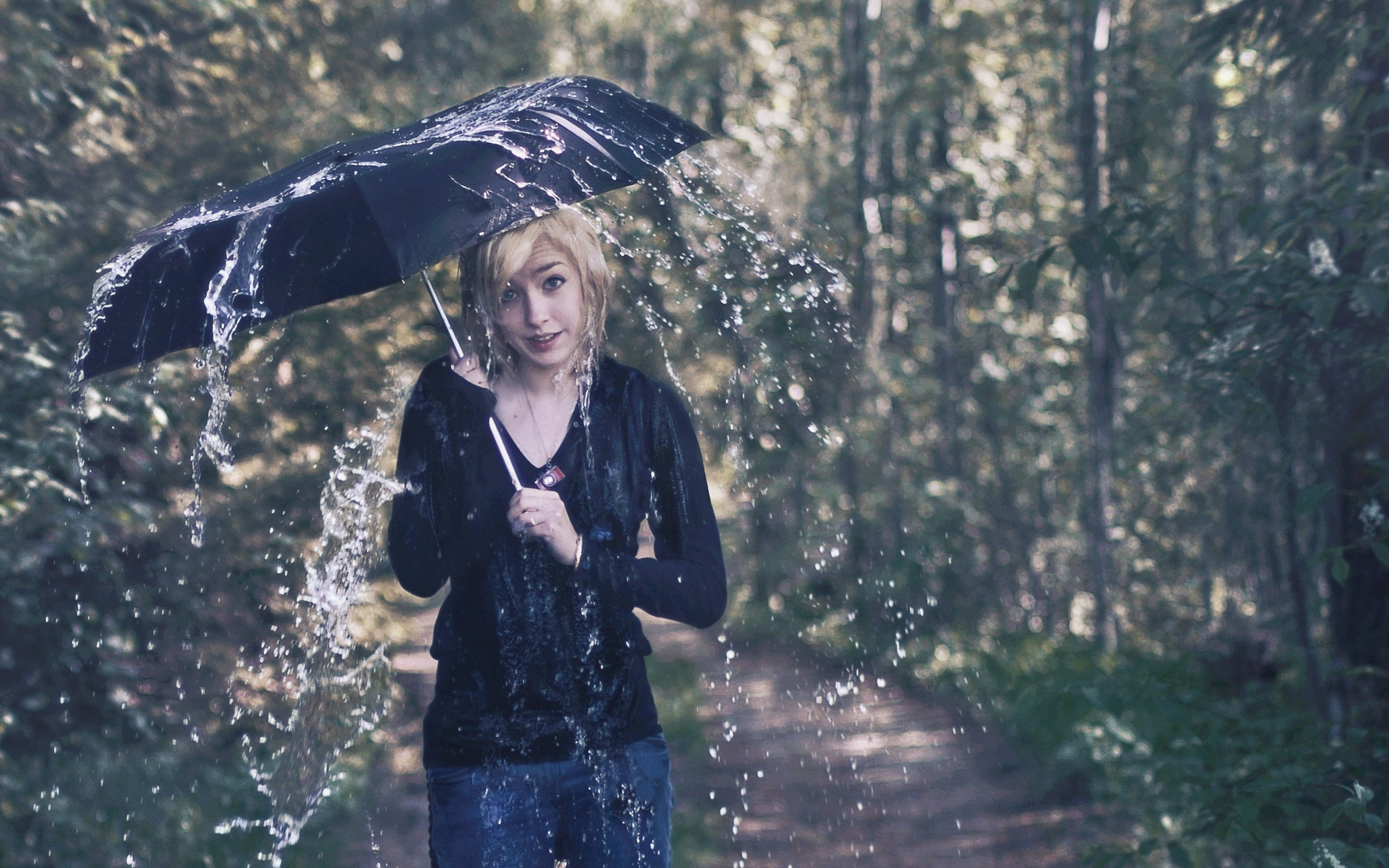 Beautiful Girl Full Screen Wallpaper Umbrella Women Rain Model Wallpapers Hd Desktop And