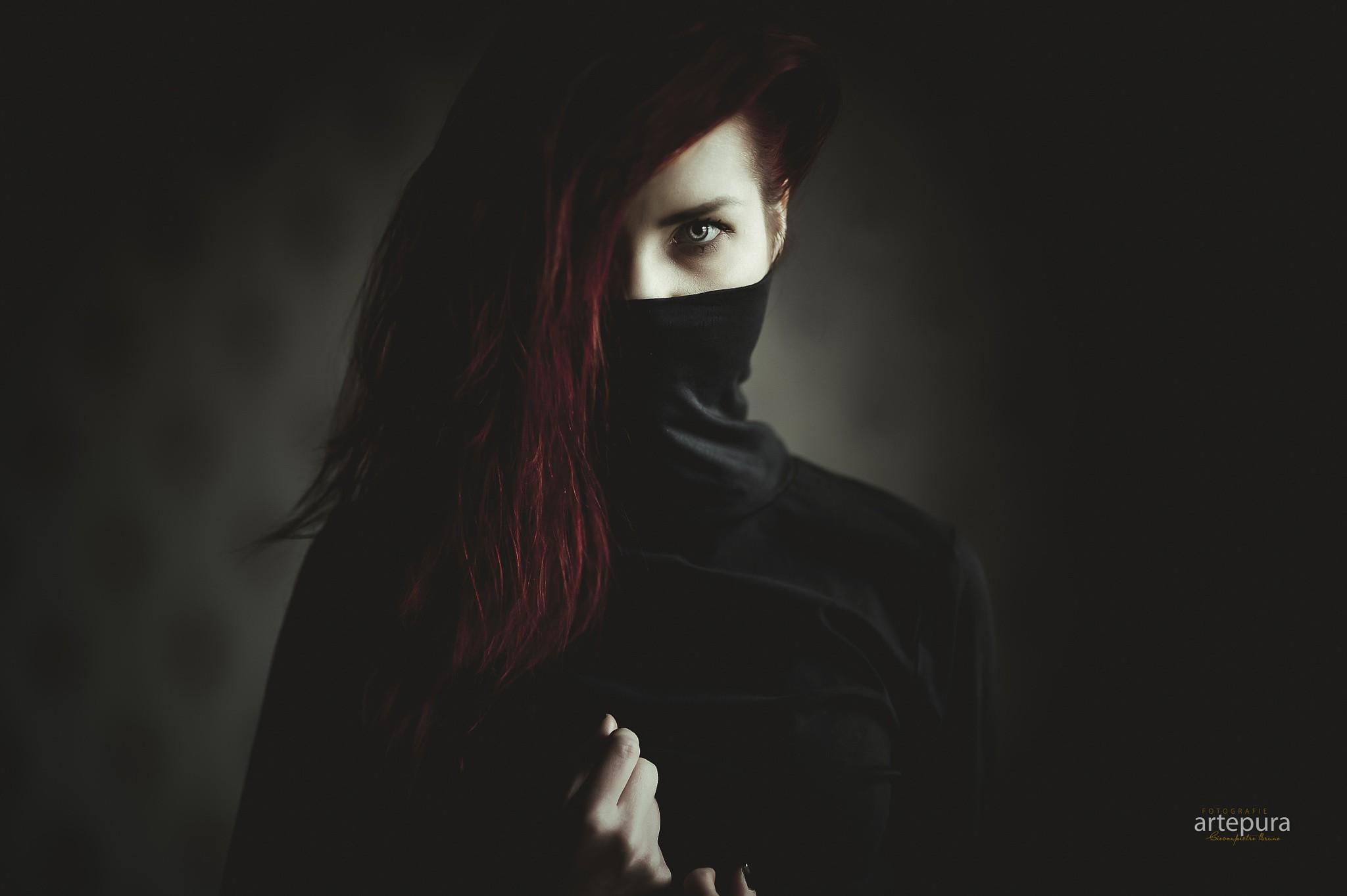Emo Cartoon Girl Wallpapers Women Redhead Hazel Eyes Mask Portrait Black Clothing
