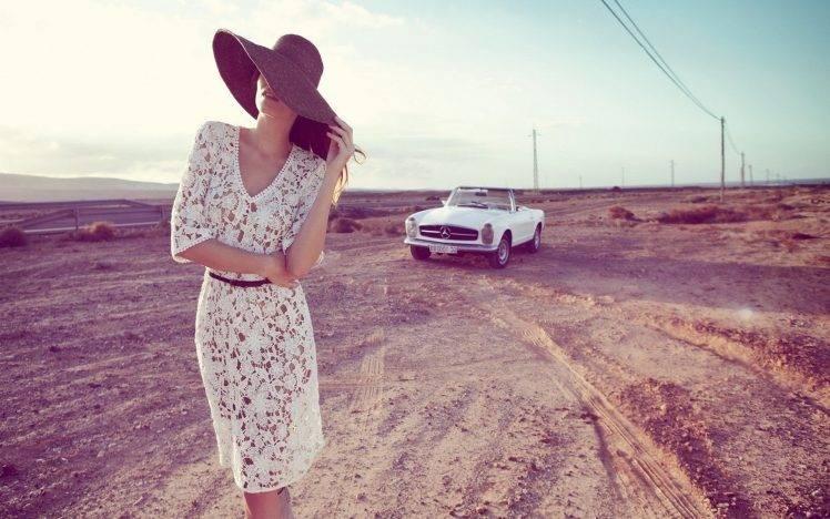 Car 5760x1080 Wallpaper Photography Women Model Landscape Car Mercedes Benz