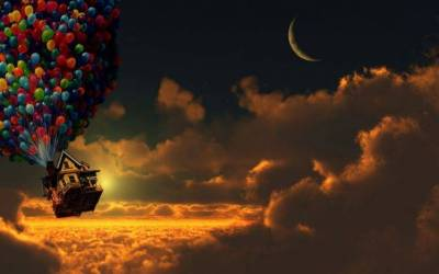 Up (movie), Sunset, Balloons, House, Moon, Crescent Moon, Clouds Wallpapers HD / Desktop and ...