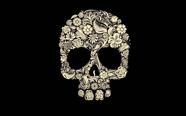Skeleton Pattern Wallpaper Cute Digital Art Simple Background Minimalism Black