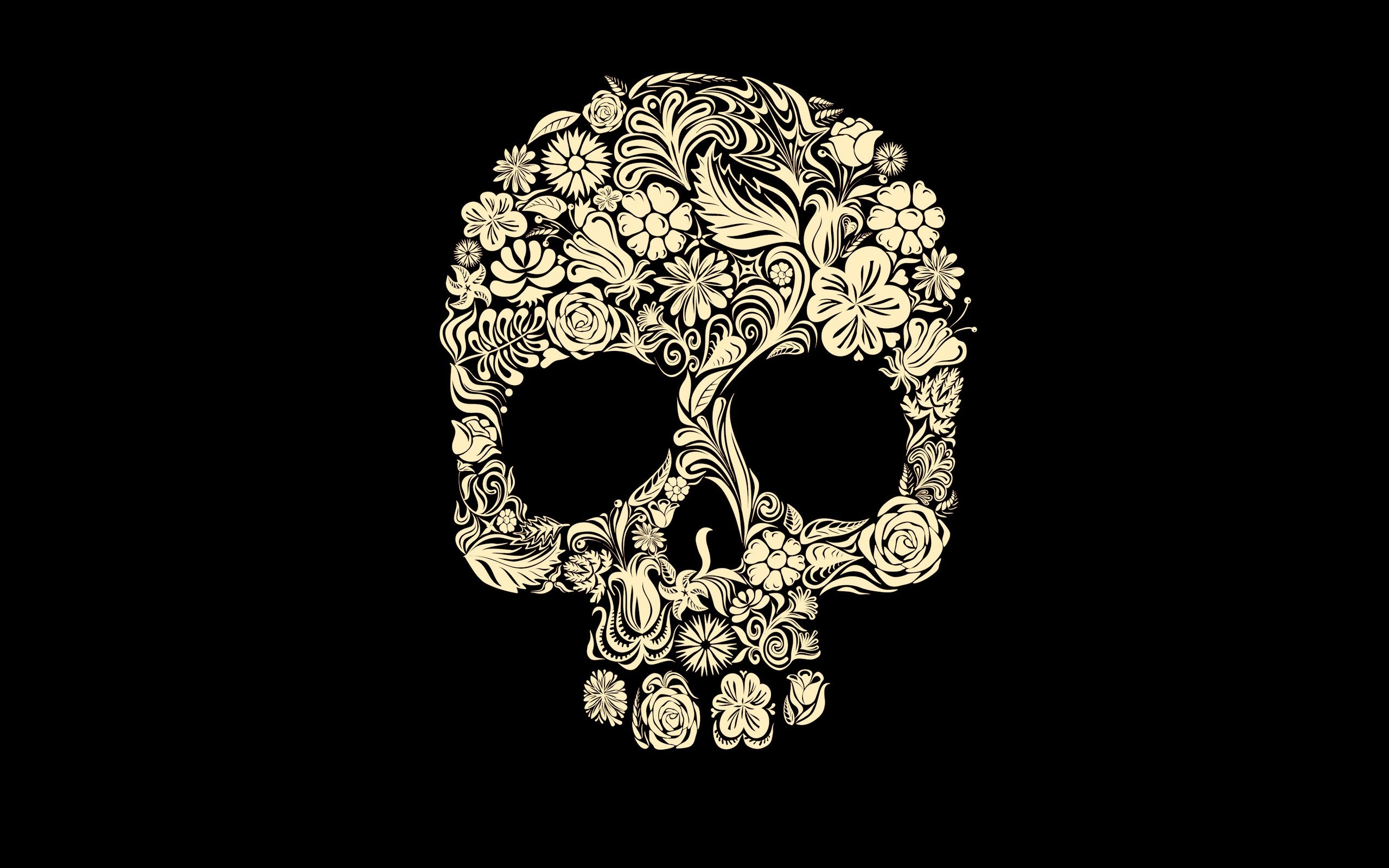 Cute Girly Skull Wallpapers Digital Art Simple Background Minimalism Black