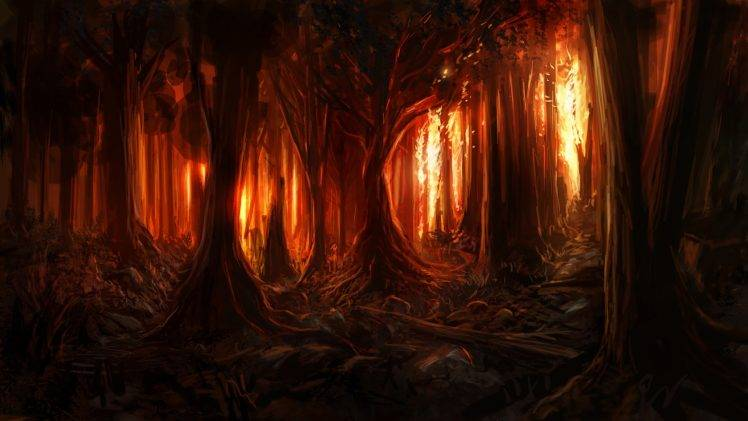 Fall Woodsy Pc Wallpaper Digital Art Nature Trees Forest Painting Burning