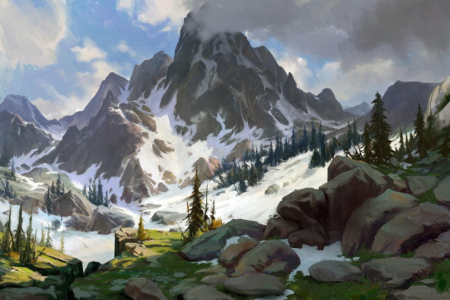 3d Tattoo Wallpaper Desktop Artwork Drawing Nature Mountain Snow Wallpapers Hd