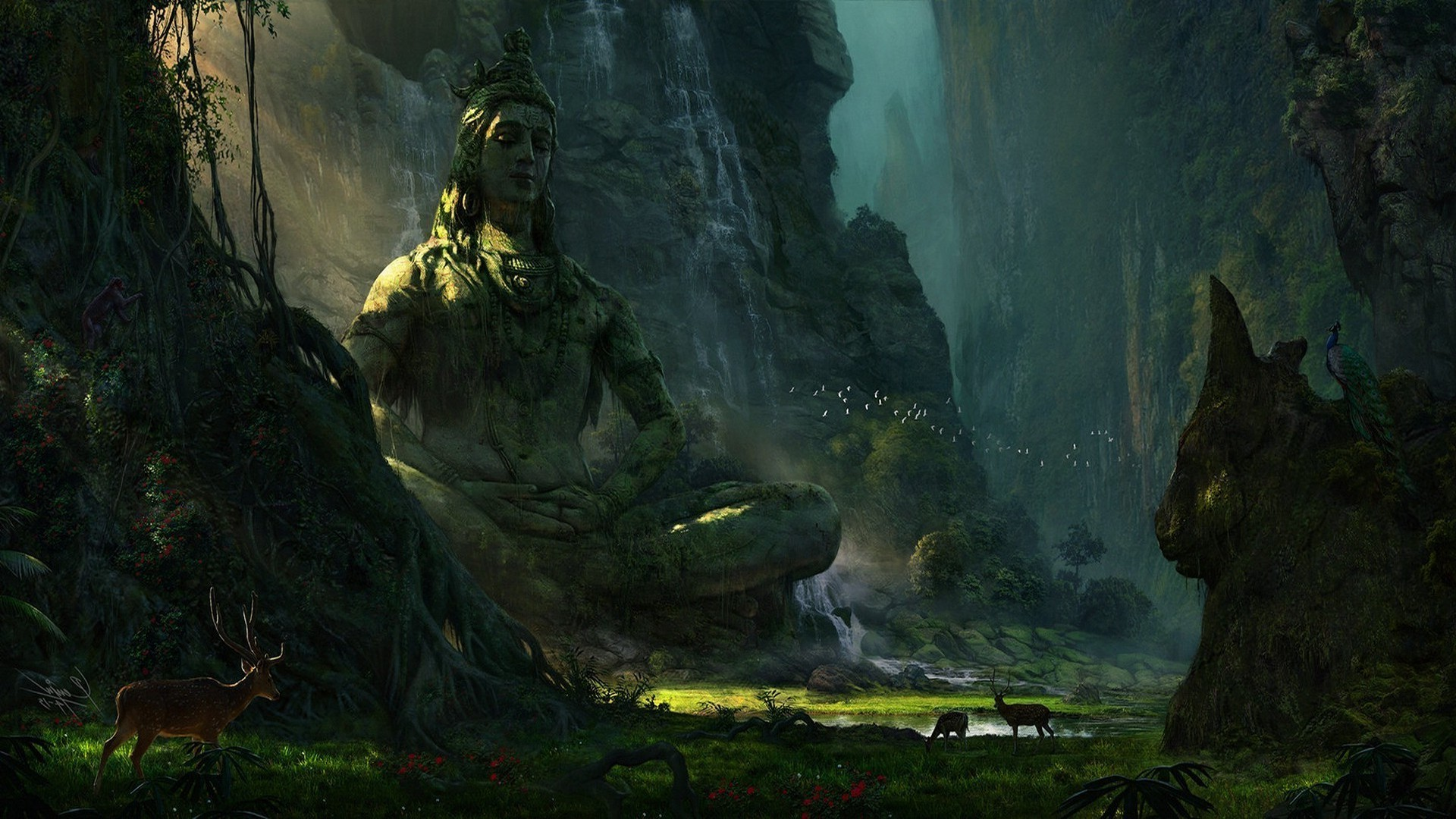 Shivaji 3d Wallpapers Mountain Deer Landscape Earth Statue Lake Waterfall