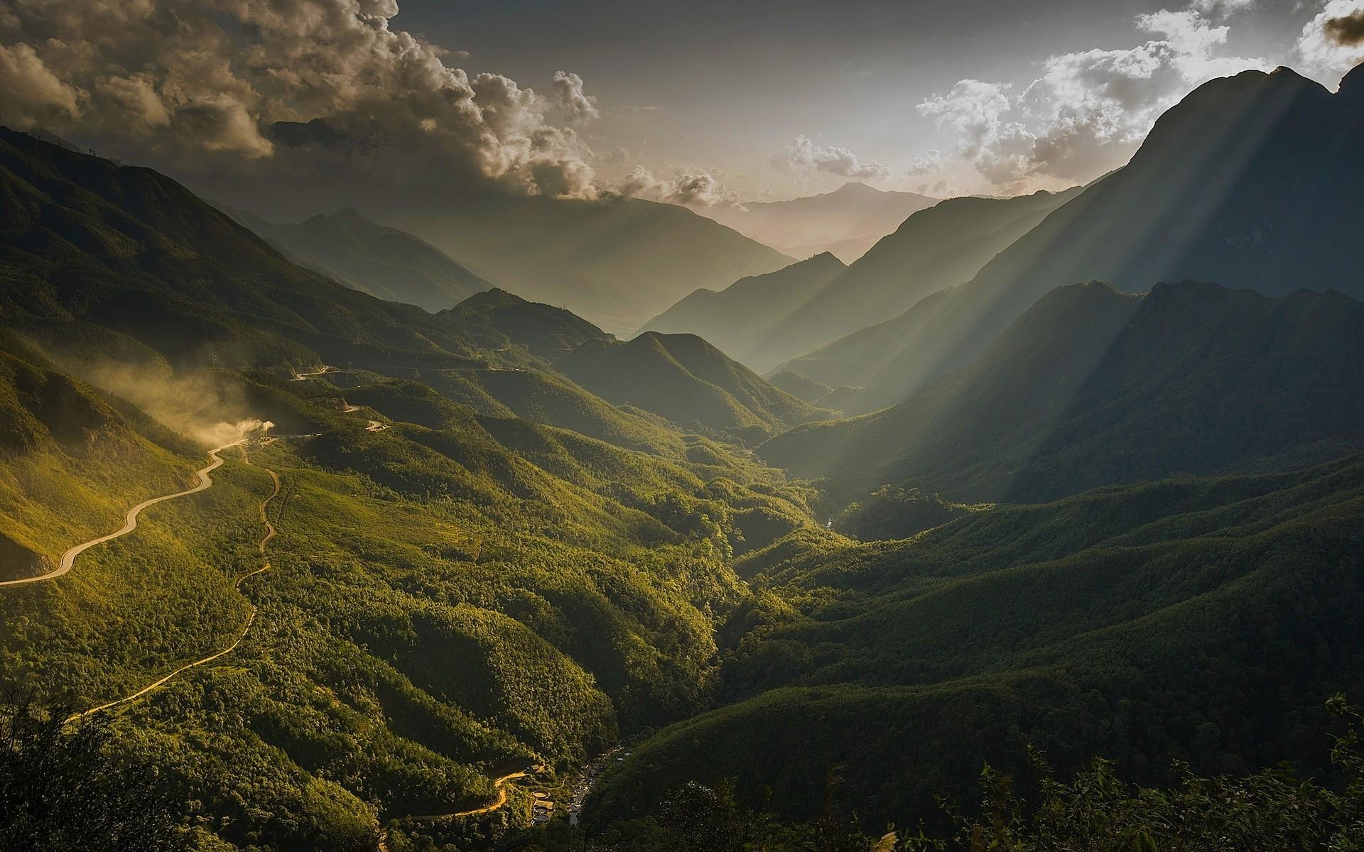 3d Celtic Cross Wallpaper Nature Landscape Sun Rays Mountain Valley River Mist