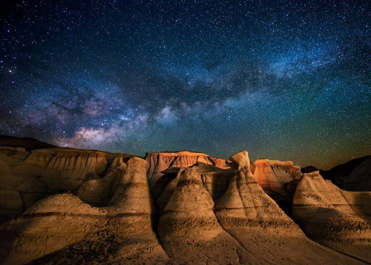 Oasis Wallpaper Iphone 5 Landscape Nature Milky Way Galaxy Starry Night Desert