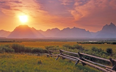 photography, Sunset, Landscape, Nature, Plants, Mountain, Field, Water, River, Fence, Grass ...