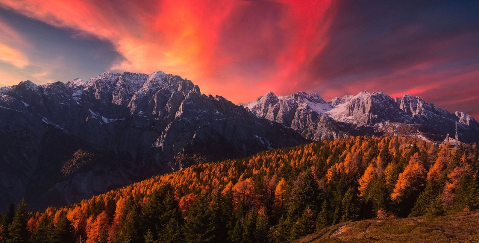 Fall Wallpaper 1600x900 Nature Landscape Alps Mountains Snowy Peak Sunset