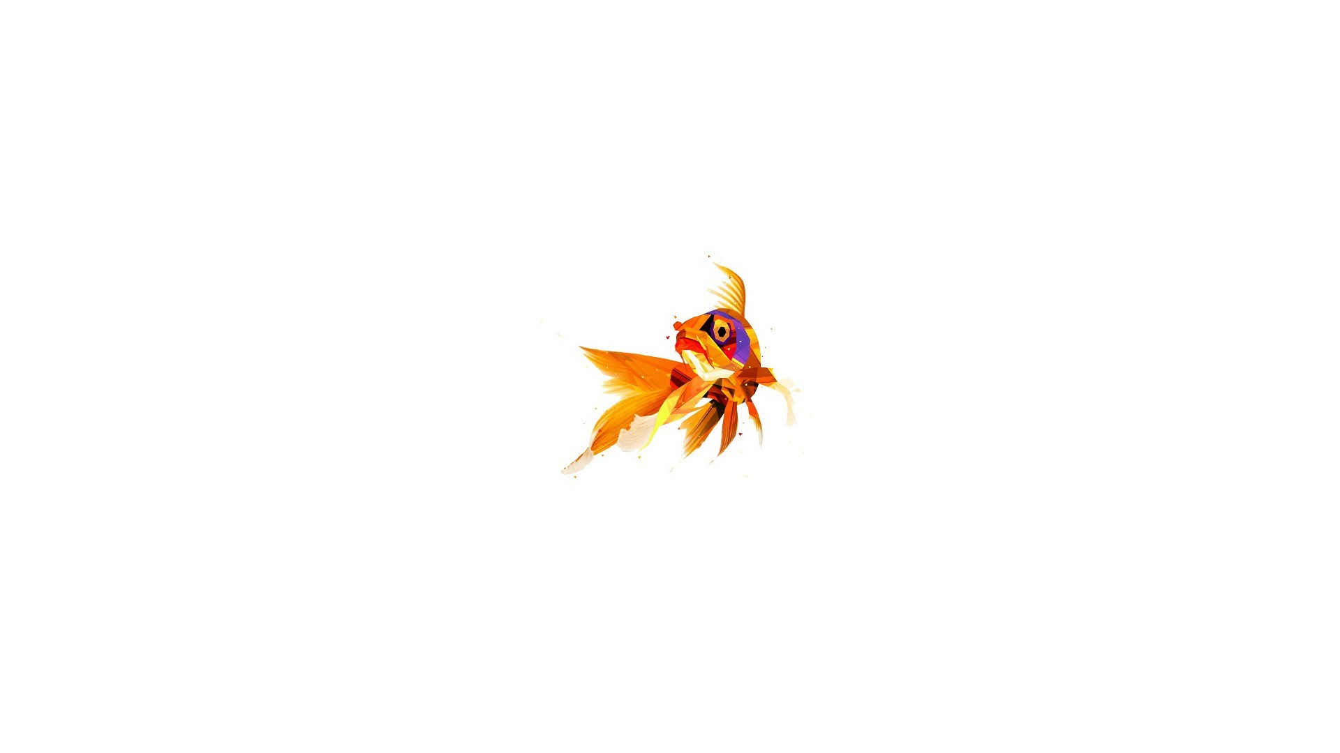 3d Wallpaper For Laptop Full Screen Digital Art Minimalism Animals Low Poly Gold Fish