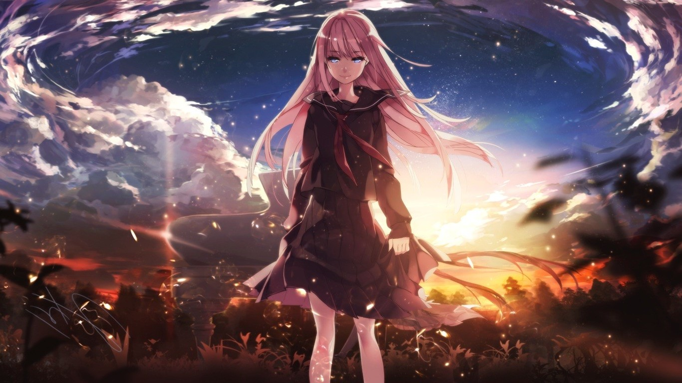 Naruto Wallpaper Hd 1366x768 Vocaloid Megurine Luka Clouds School Uniform Piano