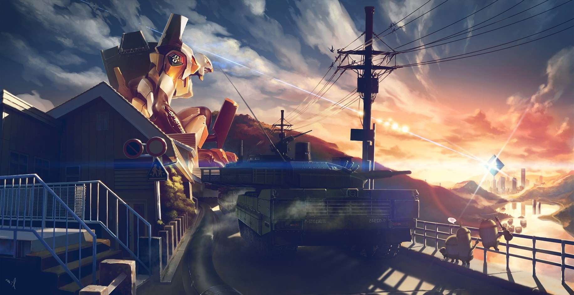 Tank Girl Wallpaper 4k Minions Tank Neon Genesis Evangelion Sunset Eva Unit
