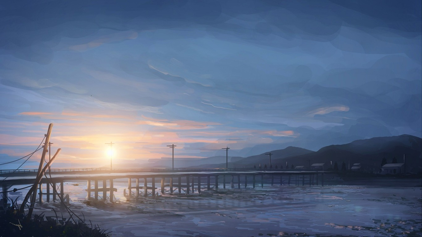 Alone Wallpaper Girl Anime Sky Sunrise Bridge Wallpapers Hd Desktop And