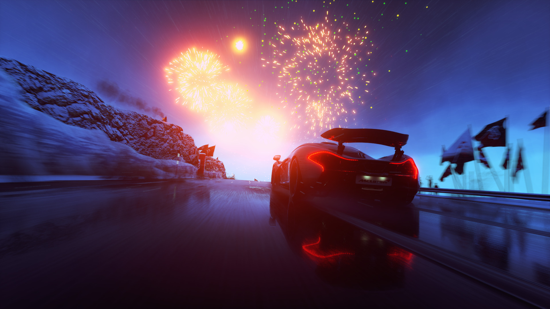 Car 5760x1080 Wallpaper Driveclub Car Fireworks Video Games Mclaren Wallpapers