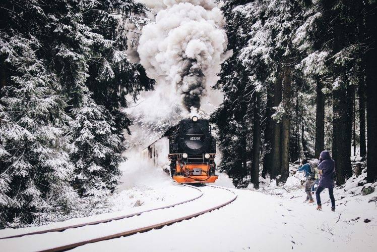 Free Full Screen Fall Wallpaper Nature Train Railway Snow Vehicle Winter Wallpapers