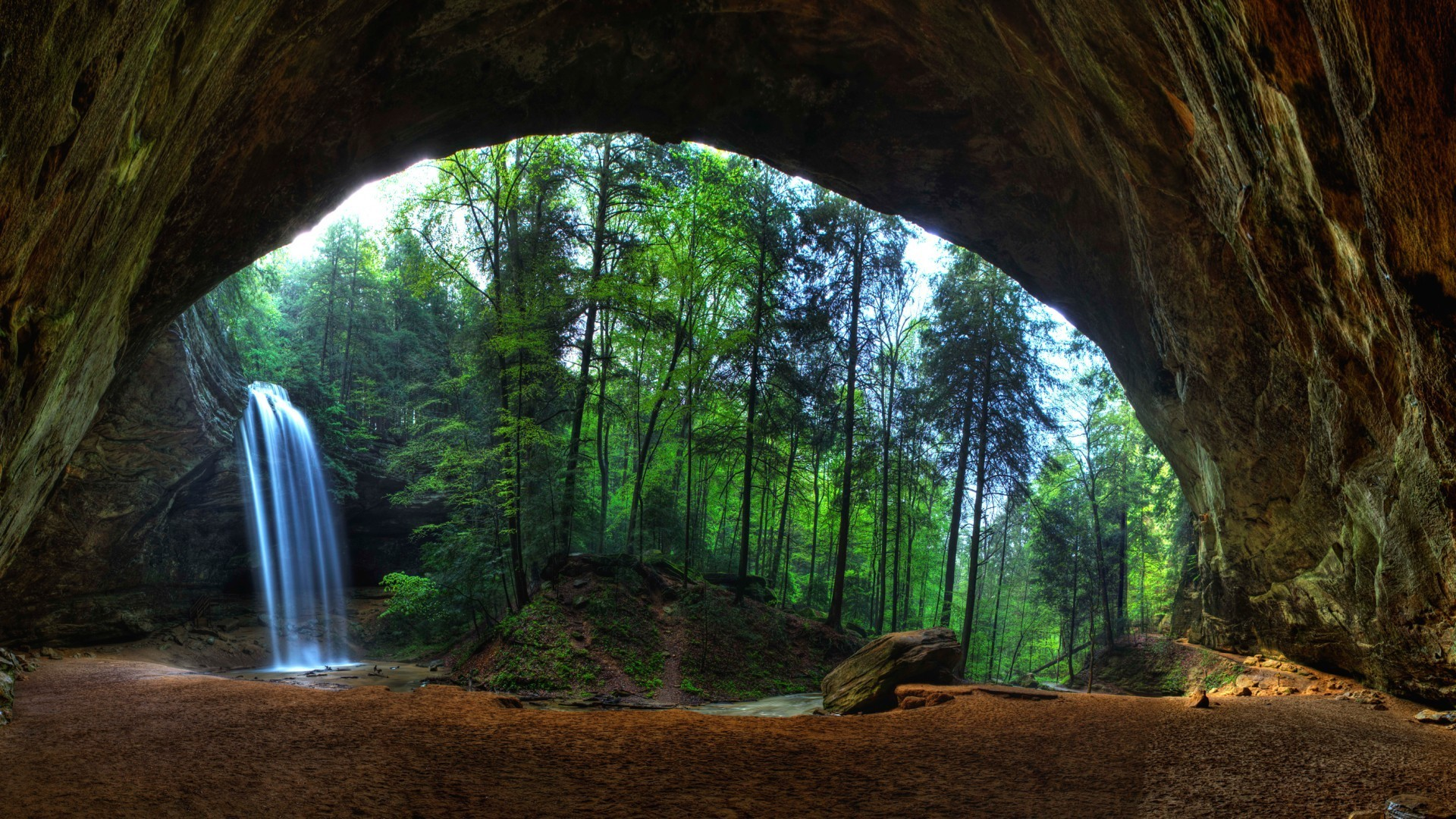 Nechar Wallpaper 3d Nature Landscape Trees Forest Waterfall Cave Long