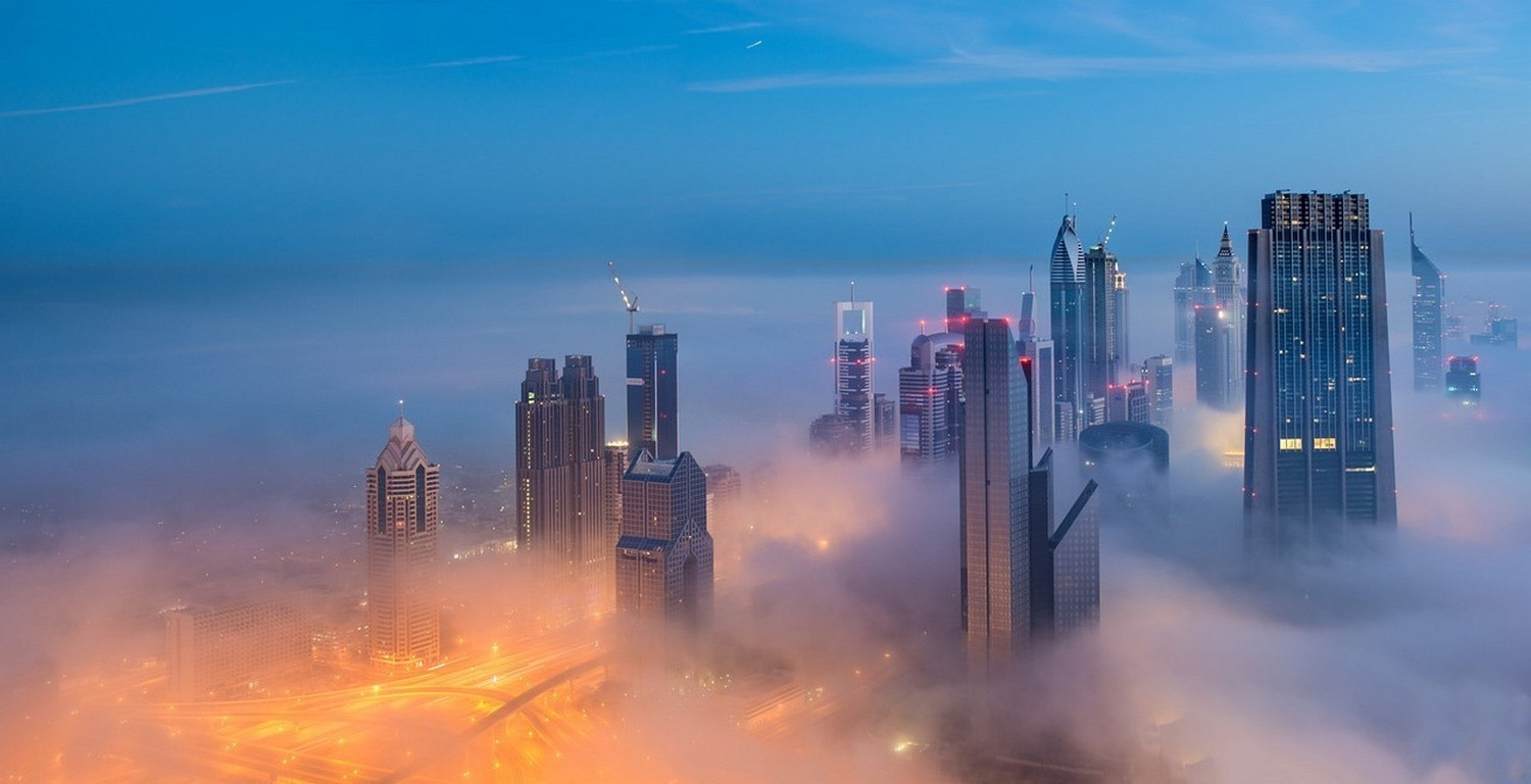 3d Wallpaper City Lights Photography Landscape Dubai Mist Skyscraper