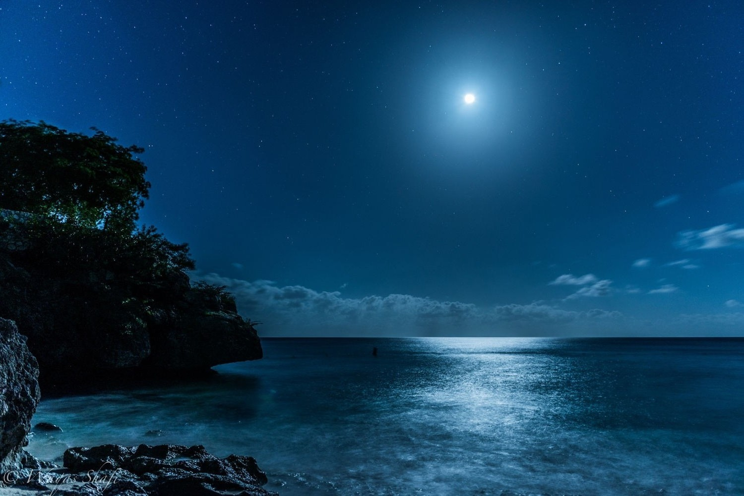 Fall Wallpaper 1600x900 Landscape Nature Caribbean Sea Starry Night Moon