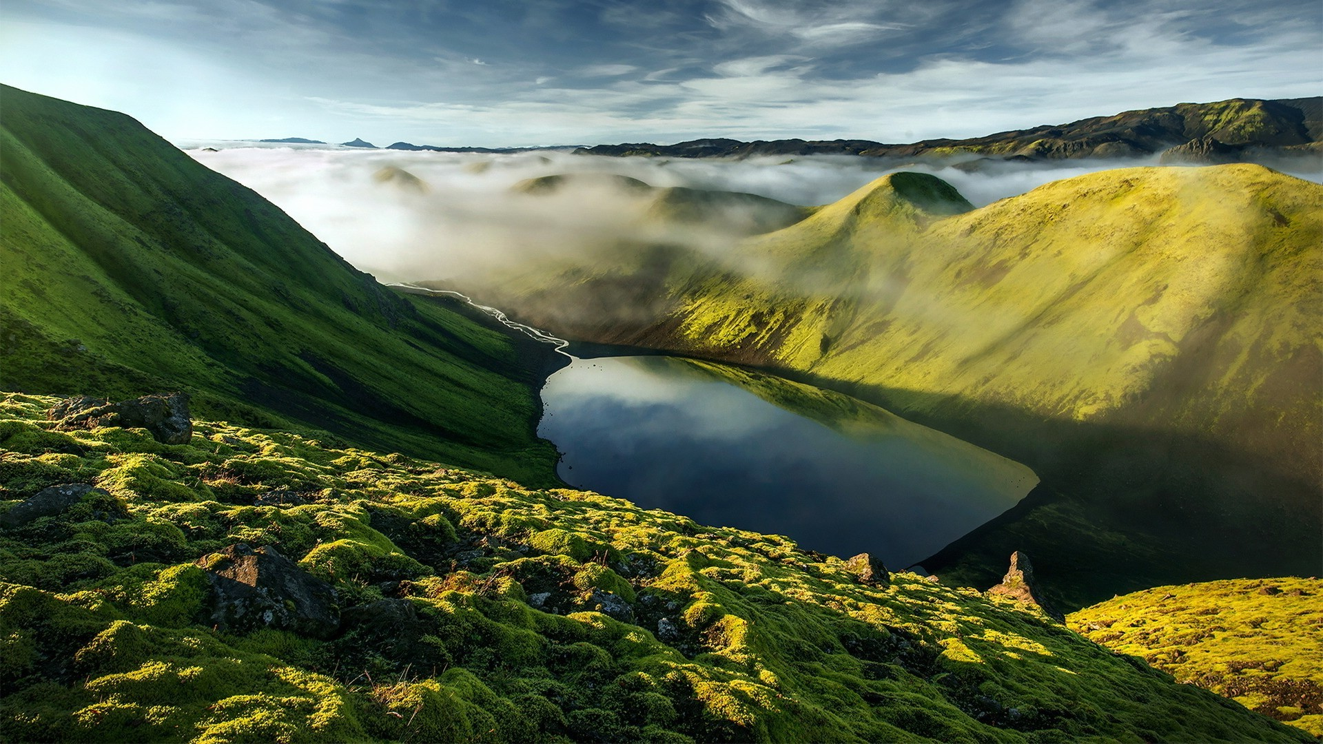 3d Grass Wallpaper Nature Landscape Mountains Iceland Rock Hills Clouds