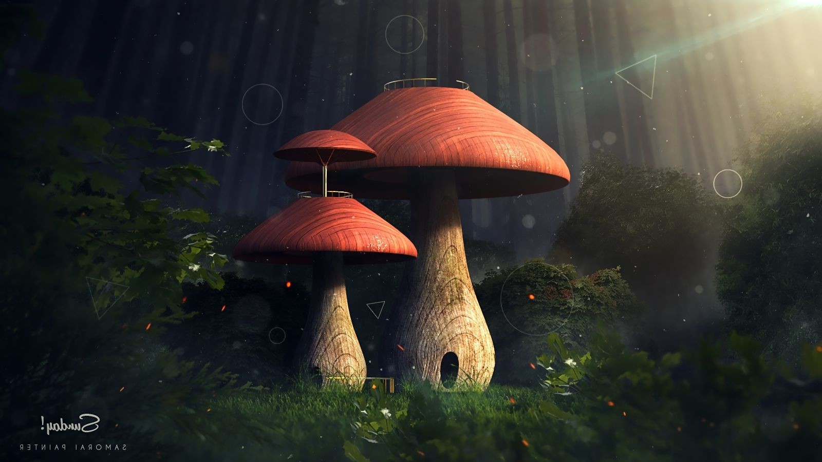 Wallpapers 1600x900 Cars Fantasy Art Nature Trees Forest Mushroom Sun Rays