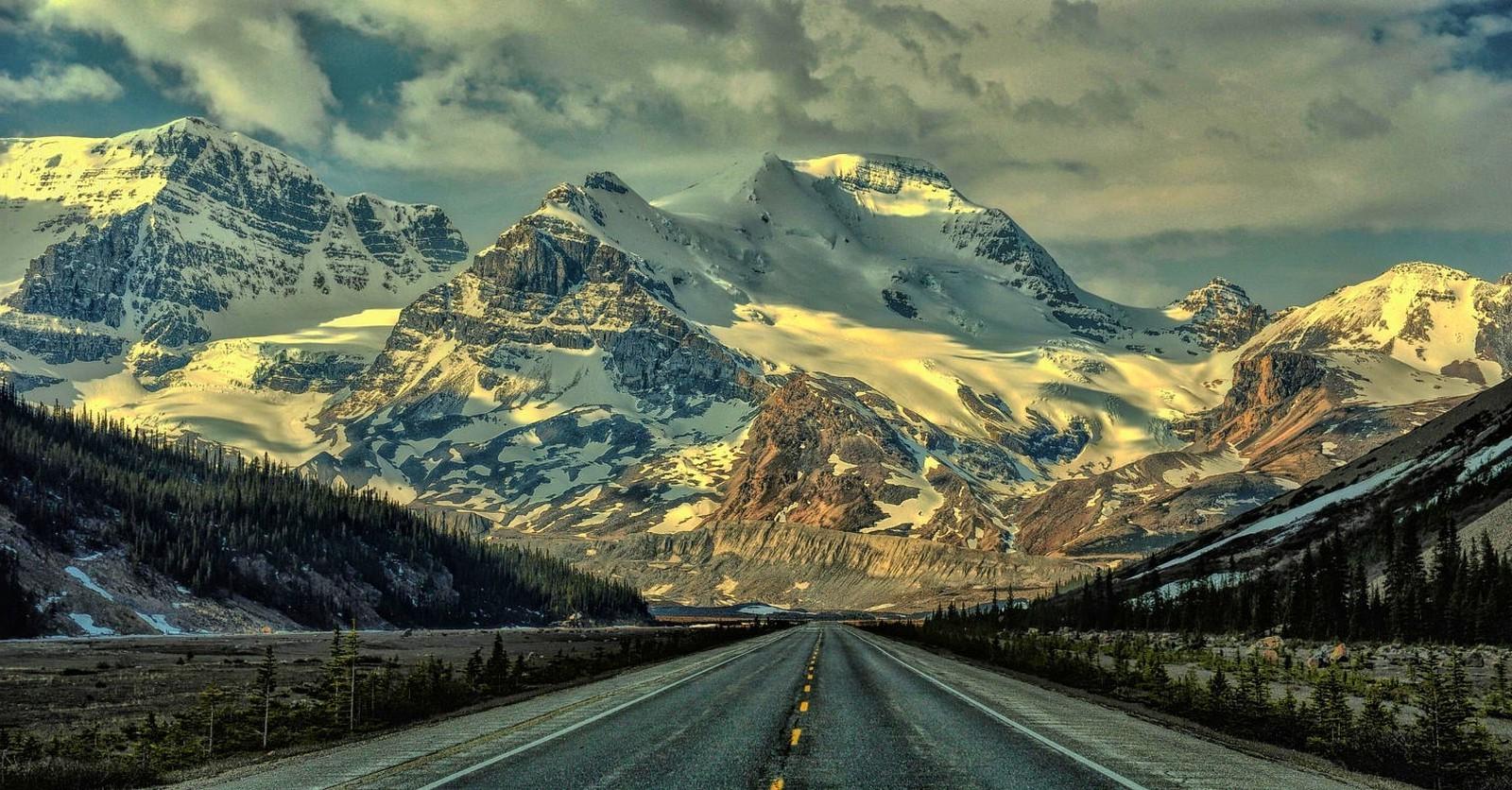 3d Forest Wallpaper Backgrounds Nature Landscape Mountains Snowy Peak Road Forest
