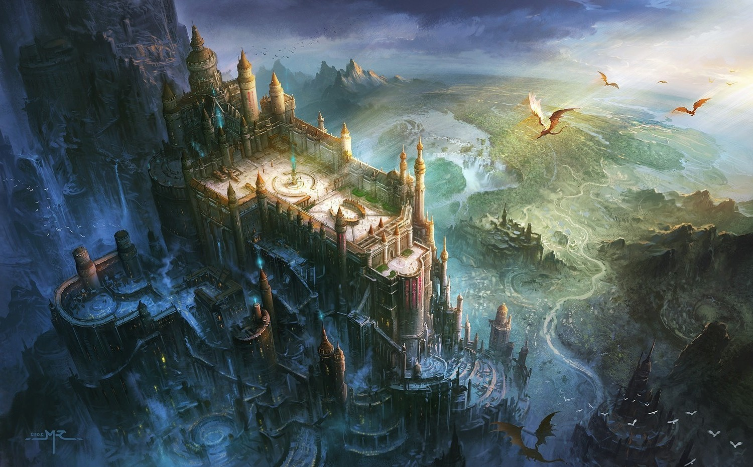 Fantasy World Art Dragon Fantasy Art Dragon Castle Birds Eye View Wallpapers Hd