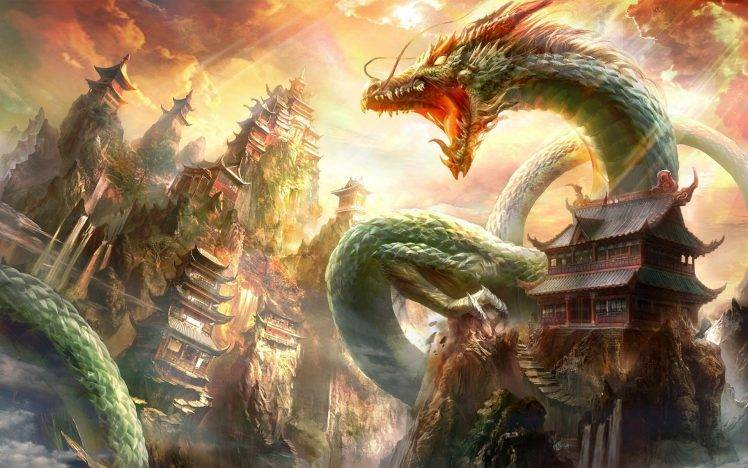 Chinese Dragon Wallpapers 3d Fantasy Art Dragon Chinese Architecture Wallpapers Hd