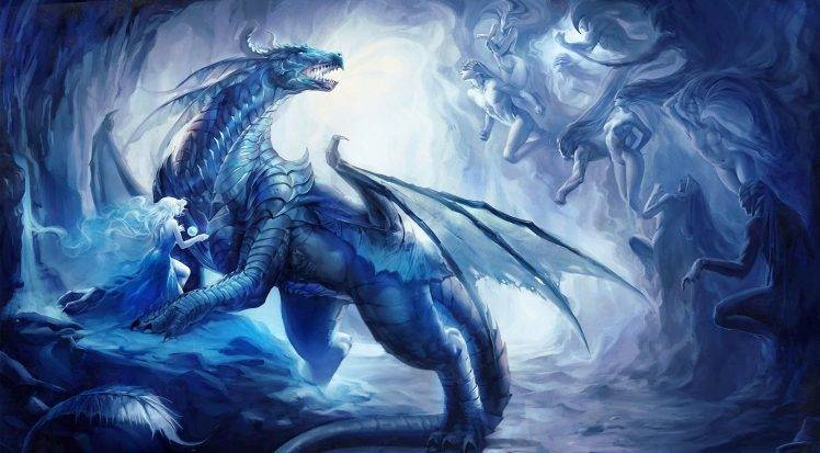 Ice Wolf 3d Wallpaper Download Dragon Ice Women Fantasy Art Wallpapers Hd Desktop