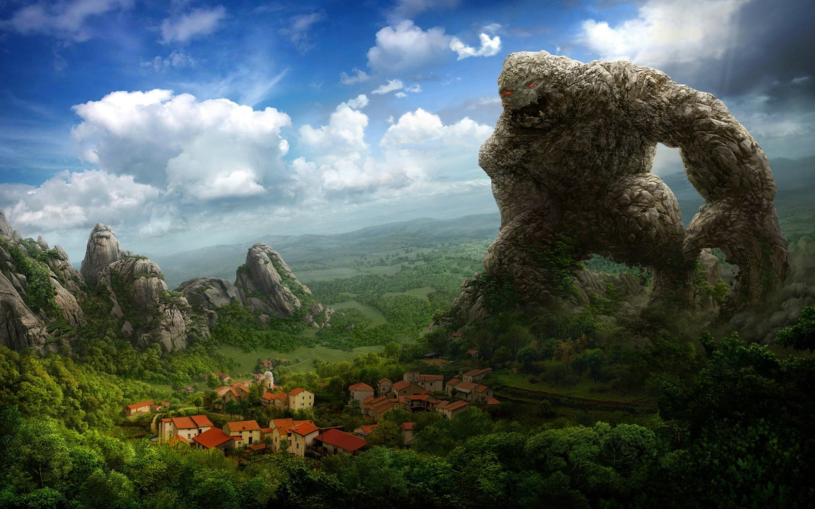 Scary Little Girl Wallpaper Fantasy Art Artwork Drawing Rock Creature Town House