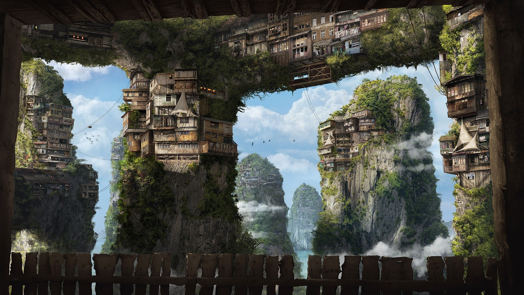 3d House Wallpaper Fantasy Art Apartments House Cliff Villages Sky