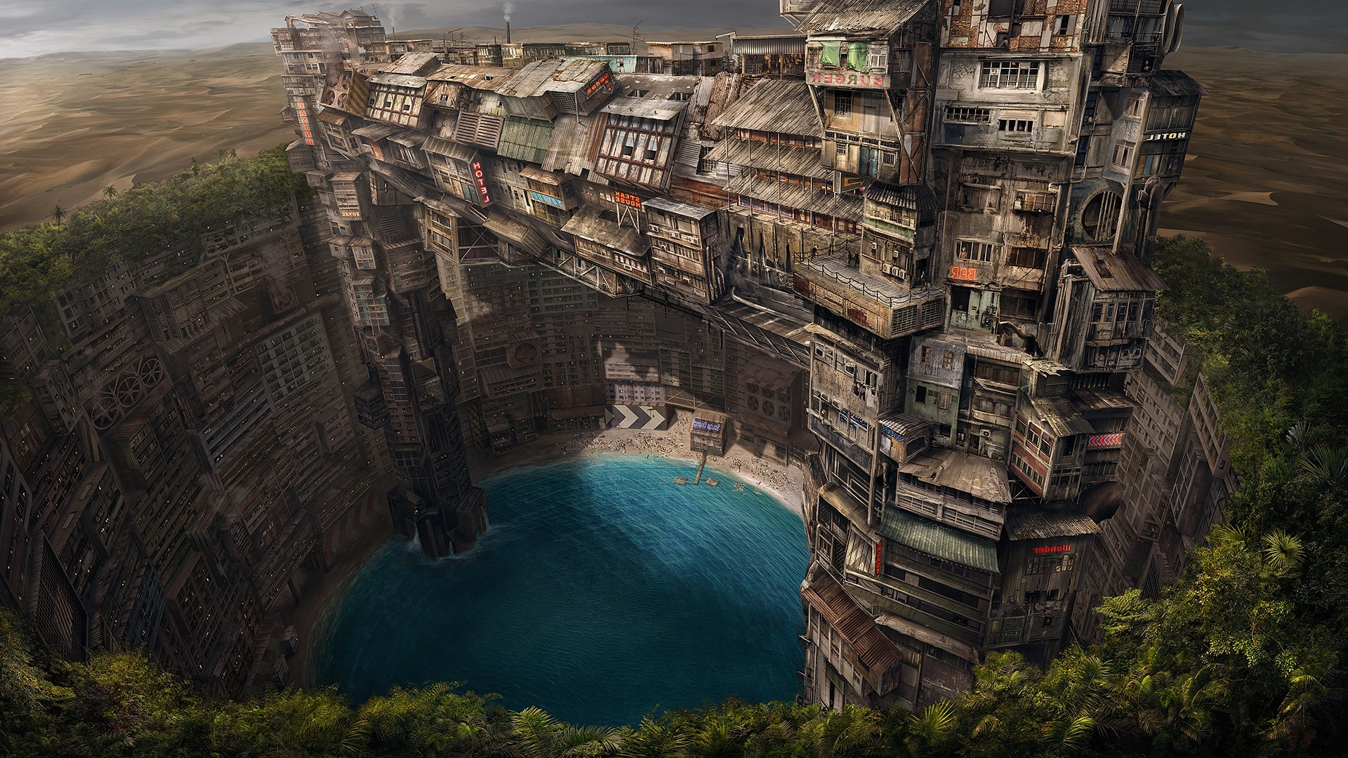Minecraft Wallpaper 3d Building Fantasy Art Pond City Underground Wallpapers