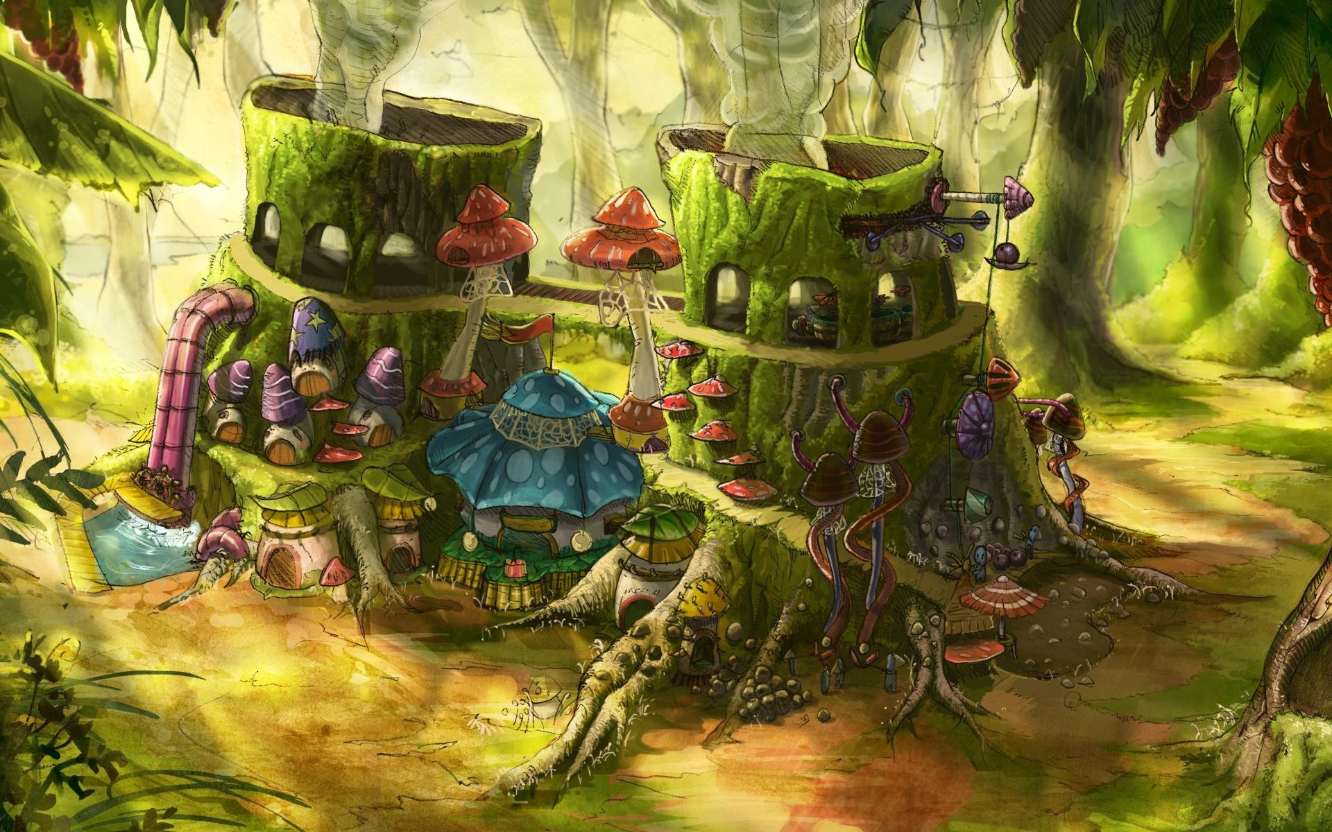 3d Mushroom Garden Wallpaper Download Fantasy Art Digital Art House Mushroom Tree Stump