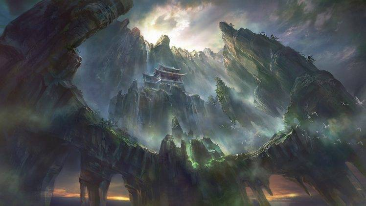 Beautiful Chinese Girl Painting Wallpaper Artwork Fantasy Art Pagoda Asian Architecture Mountain
